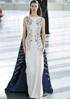 dress with train by Antonio Berardi / LFW