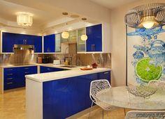 Красивые синие кухни фото.
