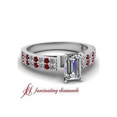 2 Row Petite Diamond Engagement Ring With Round & Ruby Diamonds In... ($872)