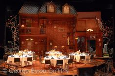 Dinner on the ARSENIC AND OLD LACE set on the thrust stage.  Costume Ball 2011