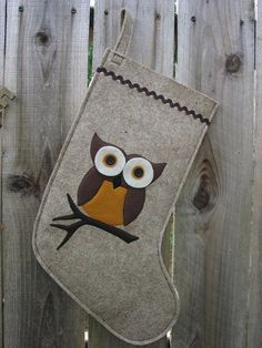 Christmas Stocking Woodland Owl made of wool felt wool by echoshop...