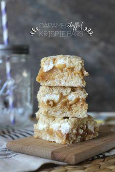 Caramel Stuffed Krispie Bars