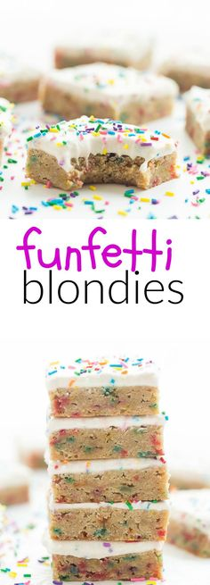 This recipe for Frosted Funfetti Blondies is a KEEPER! They are dense and fudgy and loaded with sprinkles, then topped with a creamy buttercream frosting — perfect for birthdays or parties!