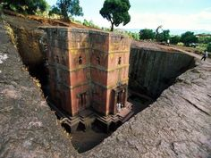 Bieta Giyorgis. Lalibela, Ethiopia (One of 12 churches in the town where churches were hewed out of solid stone more than 800 years ago.)