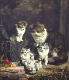 Kittens with Fan and Mother Private Collection
