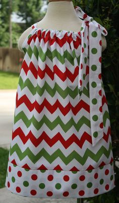 Christmas Chevron Pillowcase Dress Size 012 by hotwheelsfairytales, $19.00