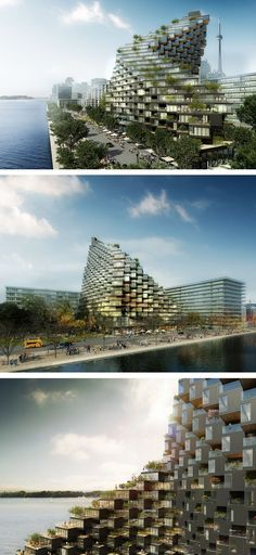 A twisted building full of terraces has been proposed for Toronto's waterfront Sustainable Architecture, Residential Architecture, Modern Architecture, Modern Buildings, Architecture Student, Beautiful Architecture, Terrace Building, Green Building, Terraces