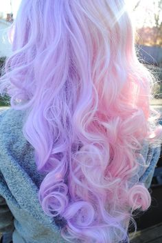 half and half, purple and pink pastel hair.