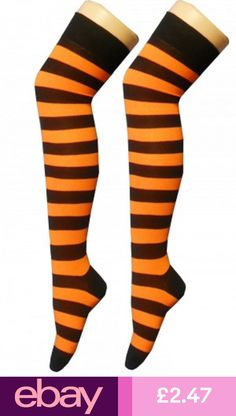 5e6e5fd2bf1 Ladies Over The Knee Orange And Black Stripy Stripey Socks Sox Striped Tiger