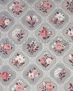 Build Your Own Custom Sample Vintage Wallpaper Packet- Single Scrap Sheet, 8 1/2 in. x 10 1/2 in. Page- Gray and Pink Floral Geometric
