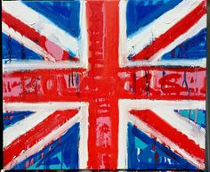British Flag British Decor Union Jack Flag English Art 24x20 Pop Art Painting Canvas Wall Art Red White Blue Art Gifts for All