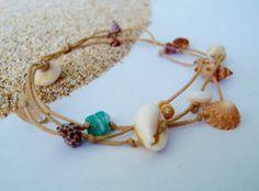 Hawaiian small seashells surfer charm bracelet by HayleySommer, $14.00