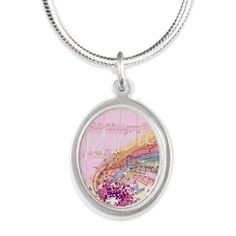 Pink Sheet Music Silver Oval Necklace by #MoonDreamsMusic #SilverOvalNecklace #PinkSheetMusic