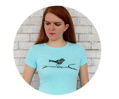 Bird Tshirt Ladies Cotton Crewneck Supersoft Tee by CausticThreads