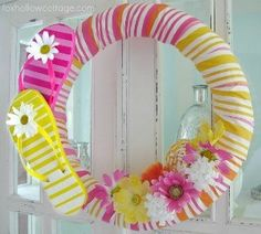 Fox Hollow Cottage -Learn how to make a pool noodle flip flop wreath