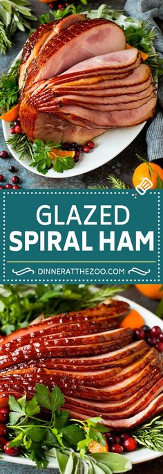 This spiral ham is coated in a homemade brown sugar glaze, then baked in the oven to tender and juicy perfection. Entree Recipes, Delicious Dinner Recipes, Pork Recipes, Veggie Recipes, Lunch Recipes, Cooking Recipes, Best Ham Recipe, Fudge, Spiral Ham