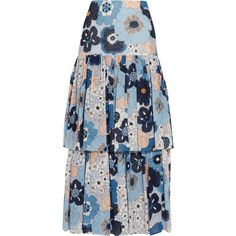 Chloé Floral-print cotton-gaufré maxi skirt (€1.080) ❤ liked on Polyvore featuring skirts, gonne, blue, floral print skirt, blue skirt, maxi skirts, long floral skirts and cotton tiered maxi skirt