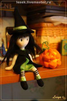 Купить Хлоя и Хеллоуин - хеллоуин, авторская игрушка, игрушка, сувенир, кукла, тыква, 100% шерсть