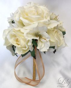 """Silk Flower Bridal Bouquet IVORY GOLD """"Lily Of Angeles"""""""