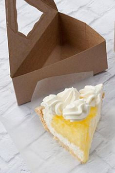 If you are serving pie or cake pack each individual slice in one of these boxes. Each box comes with a window so your guests can see and pick what they'd like. See more party ideas and share yours at CatchMyParty.com #catchmyparty #partyideas #socialdistancing #socialdistancingparty #socialdistancingpartyfoodideas