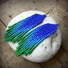 Купить Сине-зелёные серьги из бисера Необычное украшение из бисера Бохо Этно