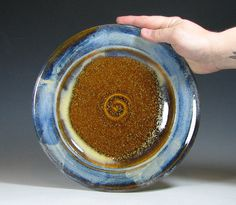 Plate dinner, ceramic dish stoneware platter, glazed in brown sapphire blue, handmade by hughes pottery
