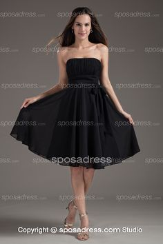 Black Charming Ruched Strapless A-line Short Bridesmaid Dress