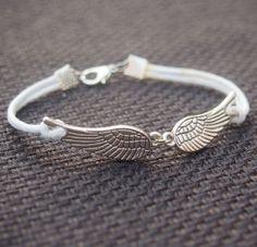 Wings Bracelet Single Bracelet Silver-White Leather Bracelet-Free Wings -Best Friendship Jewelry Gift