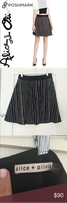 """Alice + Olivia Libby striped skirt Black and white Alice + Olivia Libby skirt in striped twill. Exposed back zip. Solid waistband with higher rise. Full, A-line shape. Cotton/spandex; nylon/poly lining. Just dry cleaned and in excellent condition. Waist is 13.5"""" flat. Length is 18.5"""". Alice + Olivia Skirts A-Line or Full"""