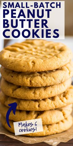 Small Batch Cookie Recipe, Small Batch Baking, Small Batch Of Cookies, Small Desserts, Mini Desserts, Homemade Peanut Butter Cookies, Butter Cookies Recipes, Oatmeal Peanut Butter Cookies, Baking Recipes