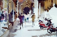 Watercolor Painting Techniques, Painting & Drawing, Watercolor Paintings, Watercolours, Art Paintings, Urban Sketching, Sketchers, Drawing Tips, Impressionism