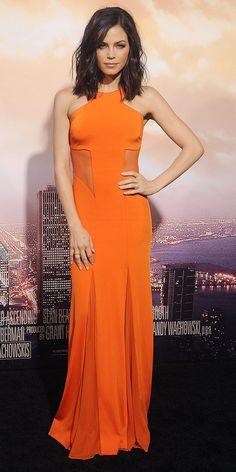 Jenna Dewan-Tatum Steals the Spotlight in Smoldering Orange Dress via @WhoWhatWear
