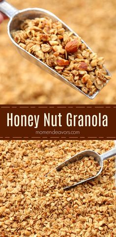 This delicious homemade granola is easy to make,… Basic Honey Nut Granola Recipe. This delicious homemade granola is easy to make, with few ingredients – perfect for breakfast, a snack, or as a yogurt mix-in! Low Carb Granola, Vegan Granola, Granola Cereal, Granola Bars, Honey Recipes, Gourmet Recipes, Cooking Recipes, Cooking Tips, Honey Nut Granola Recipe