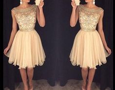 2016 Champagne Homecoming Dress, Short Summer Prom Party Dress, Charming Tulle Homecoming Dress
