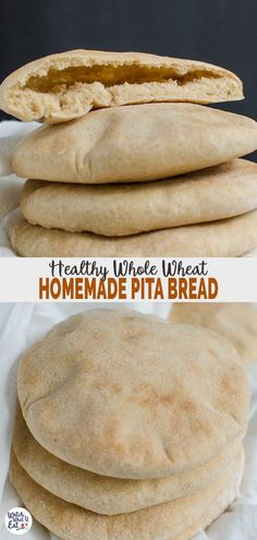 Homemade Whole Wheat Pita Bread – perfect to pair with Mediterranean dishes like homemade hummus salads etc. You can also turn them into healthy pita chips. Healthy Pita Bread, Homemade Pita Bread, Healthy Bread Recipes, Vegan Bread, Homemade Hummus, Baking Recipes, Xmas Recipes, Baby Recipes, Snacks Homemade