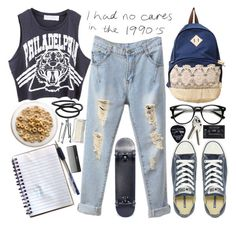 """""""Chicnova back to school outfit"""" by bluevelvetmoon ❤ liked on Polyvore featuring Converse, Goody, Floyd, Again, Sephora Collection, BOBBY and chicnova"""