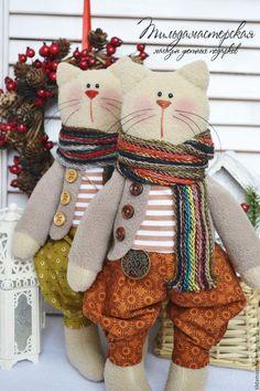 Куклы Тильды ручной работы. Ярмарка Мастеров - ручная работа. Купить Котики Хемиш и Хьюберт. Handmade. Бежевый, кофе