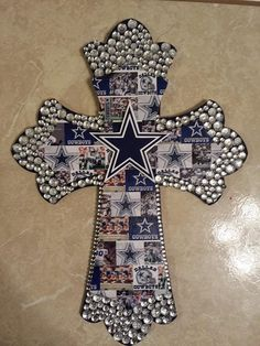 Cowboys Double Wooden Cross with bling by Lmorales52 on Etsy