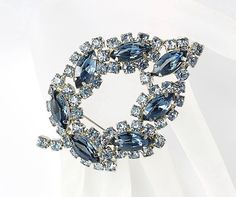 Vintage Blue rhinestone Leaf brooch Juliana style by RMSjewels, $30.00