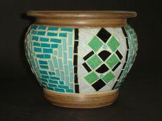 Vaso mosaico, pastilhas vidro.