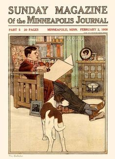 "Edward Penfield, ""The Bachelor"", on the 'Sunday Magazine of the Minneapolis Journal' cover - Feb. 2, 1908"