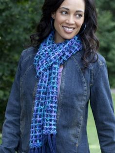 Bluesy Scarf | Yarn | Free Knitting Patterns | Crochet Patterns | Yarnspirations