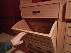 Pull down mahogany root bins