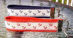 """This listing is for a 6"""" long key fob made of high quality grosgrain ribbon and heavy-duty cotton webbing.  It has a nickel fob tip and split ring.  The ribbon is off-white with anchors and stripes pr"""