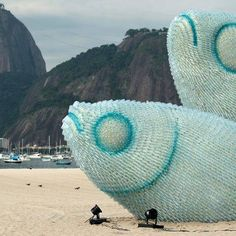 Awesome recycled plastic bottle sculpture in Brazil.