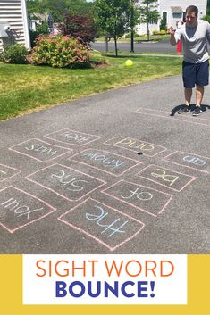 Sight door bounce is a fun outdoor game where students practice identifying sight words and try to bounce a tennis ball in the correct one. This partner game is great because both students need to be able to read and identify the words! Head on over to the post to see how to play!