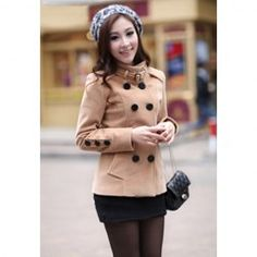 $19.23 Fashionable Double Breasted Stand Collar Long Sleeve Worsted Short Pea Coat For Women