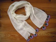 white cotton scarf with lilac crochet fanshapes
