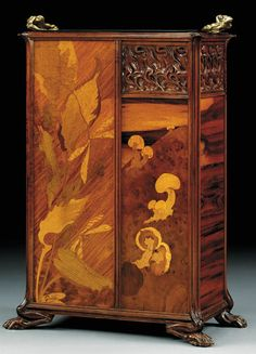 A 'GRENOUILLES' MAHOGANY AND MARQUETRY UMBRELLA STAND   by Emile Galle, circa 1900 (Christie's)