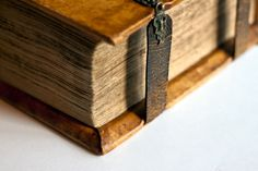 Close up photo of very old book.